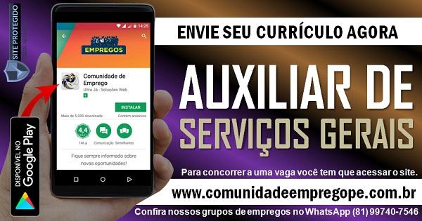 AUXILIAR DE SERVIÇOS GERAIS PARA EMPRESA DO SEGMENTO DE CONSULTORIA NO RECIFE