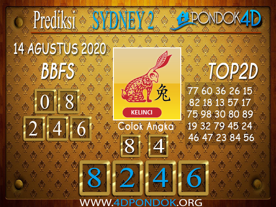 Prediksi Togel SYDNEY 2 PONDOK4D 14 AGUSTUS 2020
