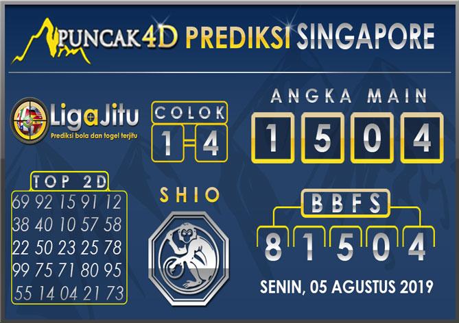 PREDIKSI TOGEL SINGAPORE PUNCAK4D 05 AGUSTUS 2019