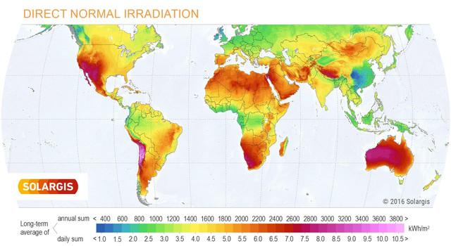 Solargis World DNI solar resource map en