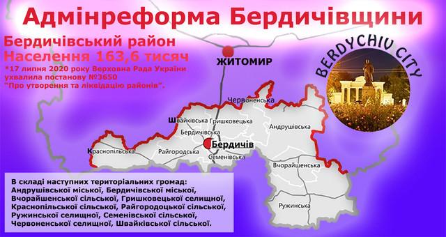 Нова адмінреформа Бердичівщини КАРТА