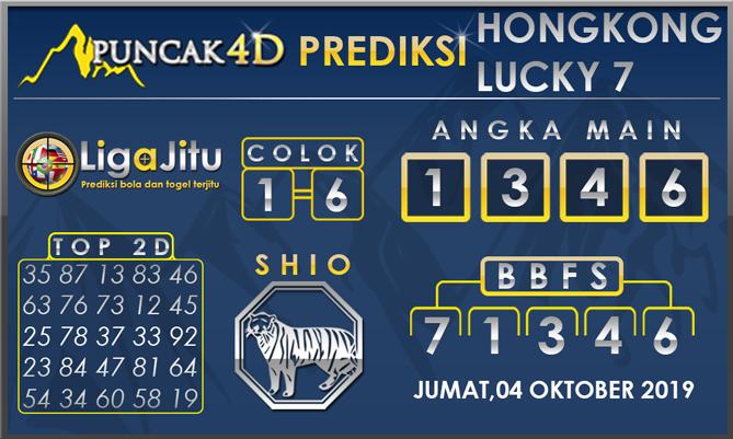 PREDIKSI TOGEL HONGKONG LUCKY7 PUNCAK4D 04 OKTOBER 2019