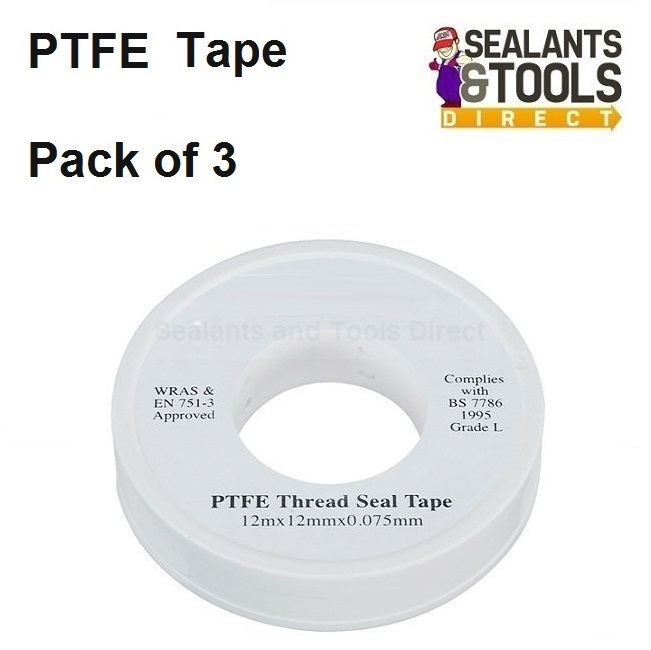 PTFE Plumbers Water Thread Tape Pack of 3
