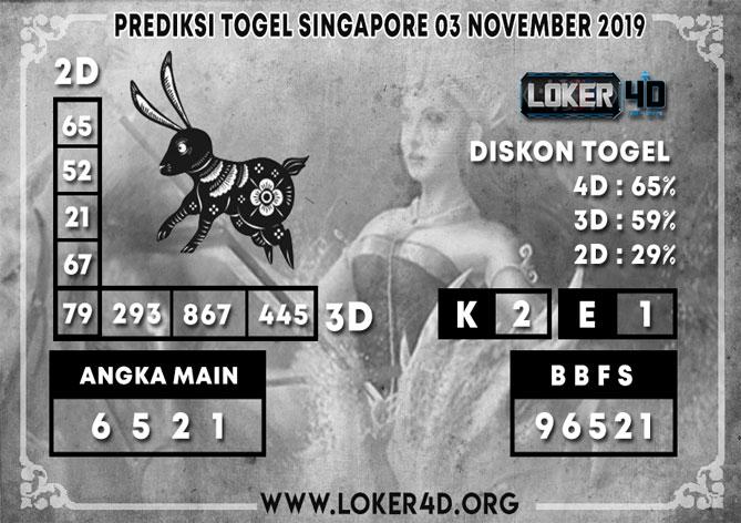 PREDIKSI TOGEL SINGAPORE LOKER4D 03 NOVEMBER 2019