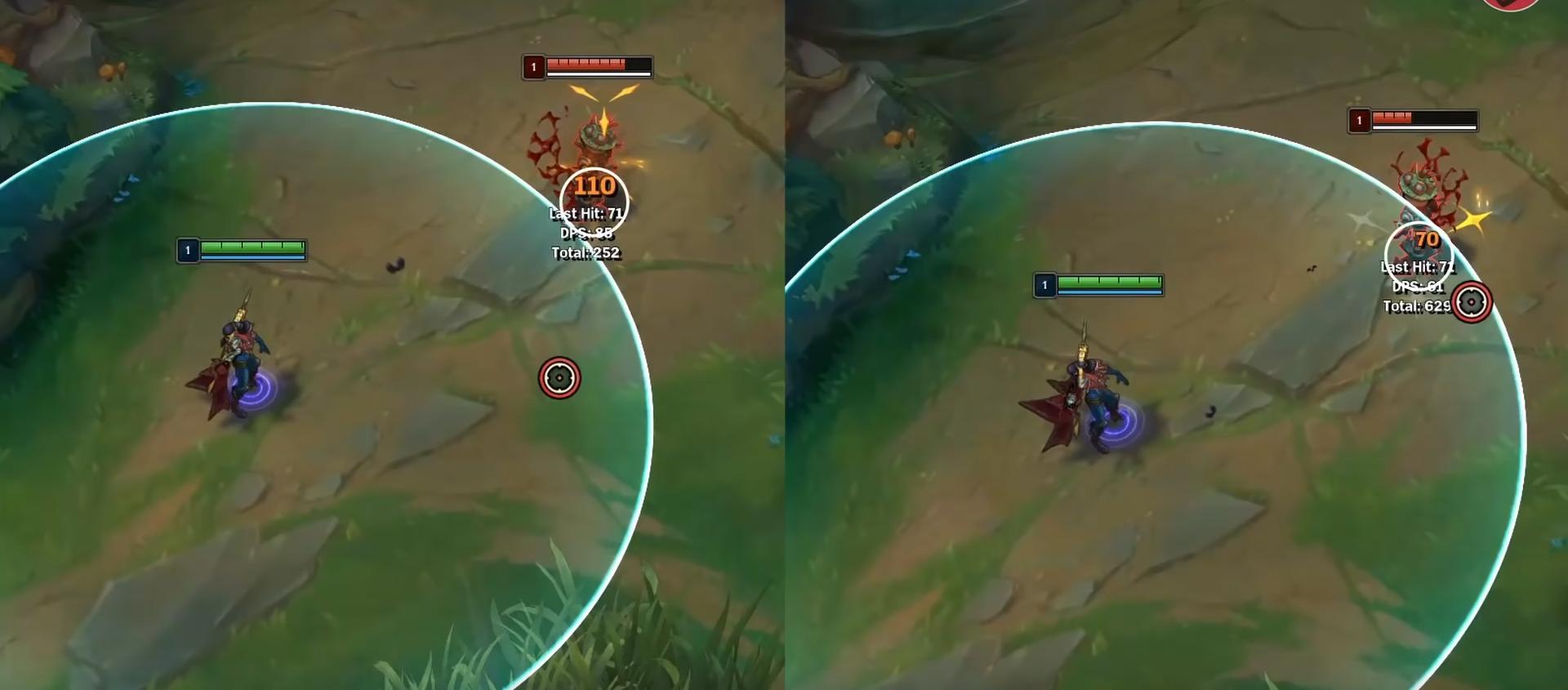 Diferencias en el rango de ataque del LoL
