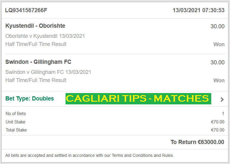 CAGLIARI TIPS FIXED MATCHES | DOUBLE HT / FT