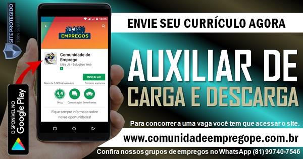 AUXILIAR DE CARGA E DESCARGA, 02 VAGAS COM SALÁRIO R$ 1205,00 PARA EMPESA EM OLINDA