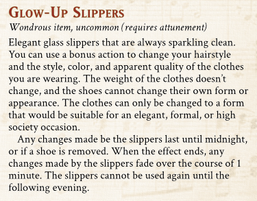 Glow-up Slipper magic item preview