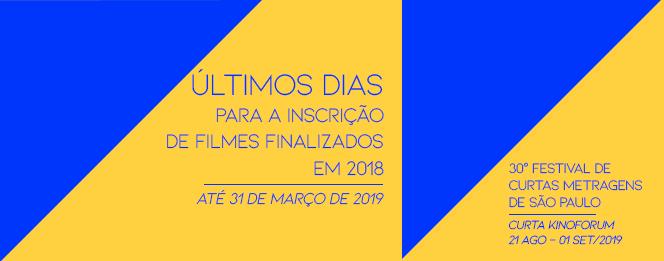 ÚLTIMOS DIAS PARA INSCREVER FILMES FINALIZADOS EM 2018