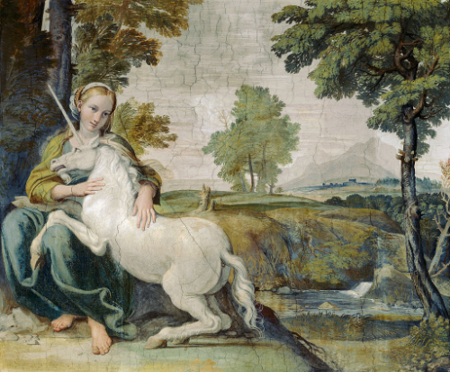 An image of the painting 'Virgin and Unicorn' by Domenichino, c.1602. Young girls and unicorns were often associated through medieval legends.