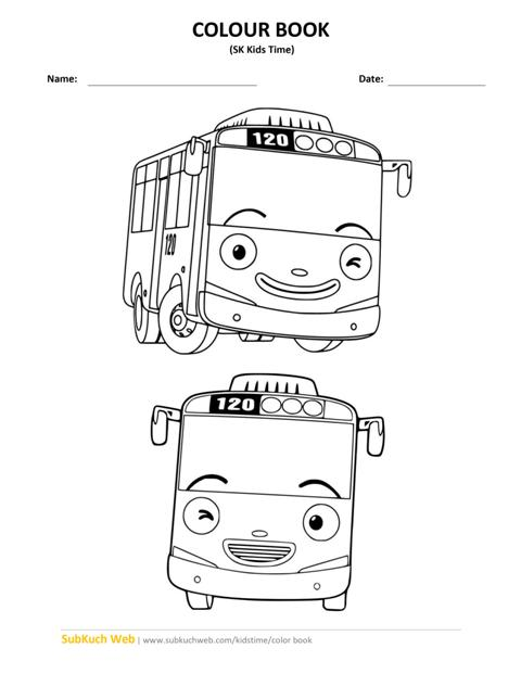 Tayo Bus Colour Page Sk Kids Time Colour Book Pages