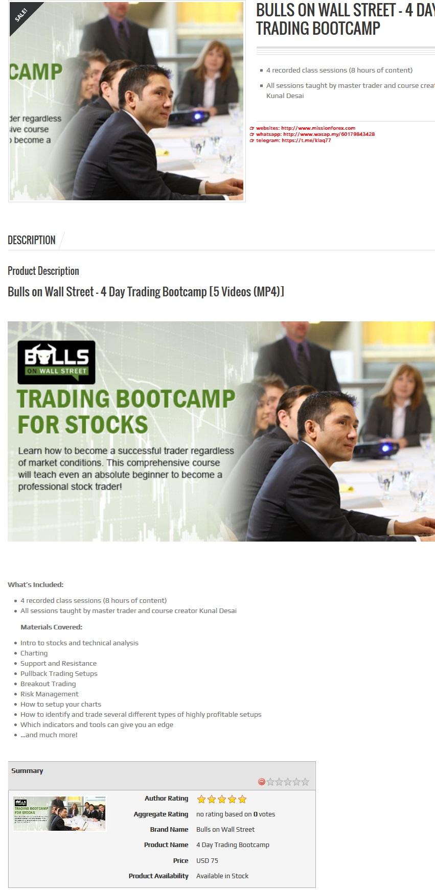 Bulls on WallStreet – 4 Day Trading Bootcamp with bonus MTF Supertrend
