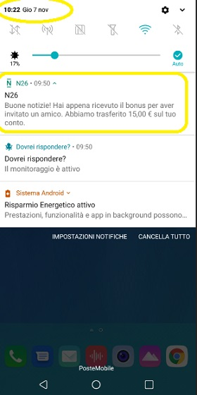 N26 10% Cashback di STATO + 5,00€+ addio spese su acquisti all'estero + Scegli PIN Carta! [Senza scadenza] - Pagina 2 Notifica-Buono-N26-2019-11-07