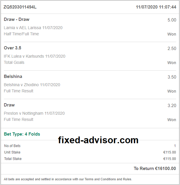 Double Bet Fixed Matches