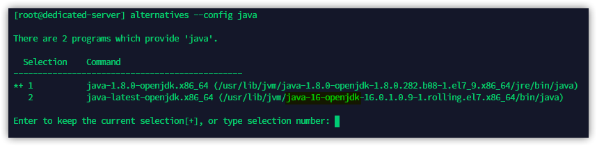 Output of the alternatives command, the new version of Java (16 in this case) is highlighted