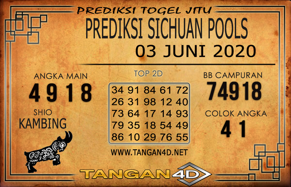PREDIKSI TOGEL SICHUAN TANGAN4D 03 JUNI 2020