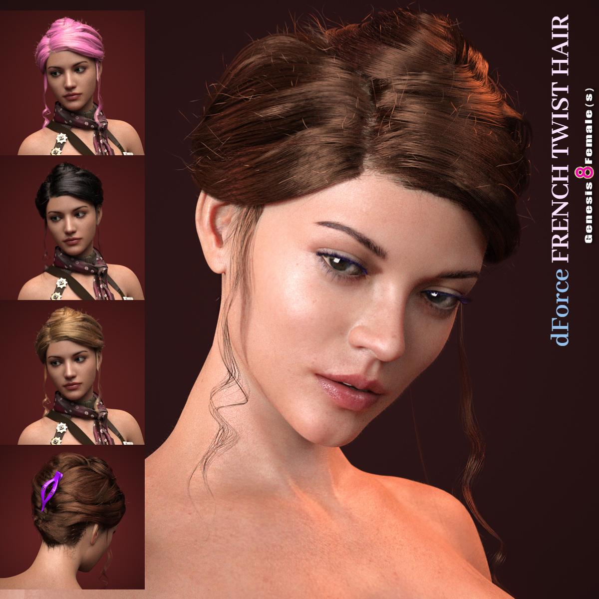 dForce_French Twist Hair for Genesis 8 Female(s)