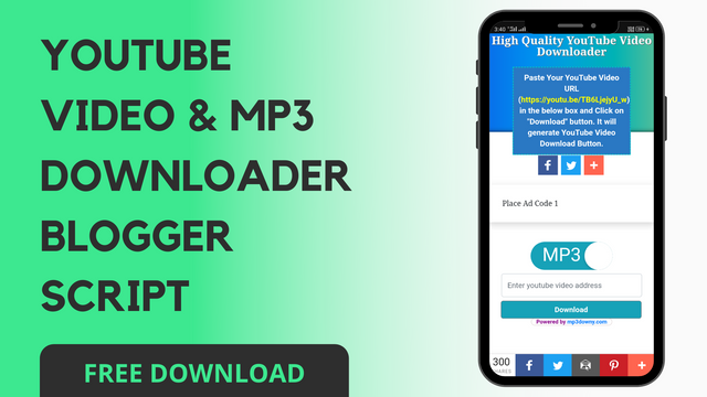 YOUTUBE VIDEO & MP3 DOWNLOADER BLOGGER SCRIPT