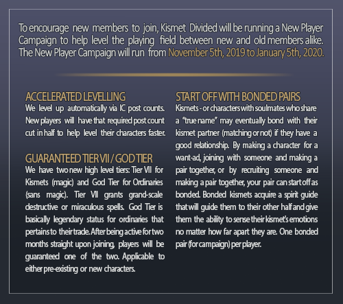 KISMET DIVIDED | new player campaign! Image
