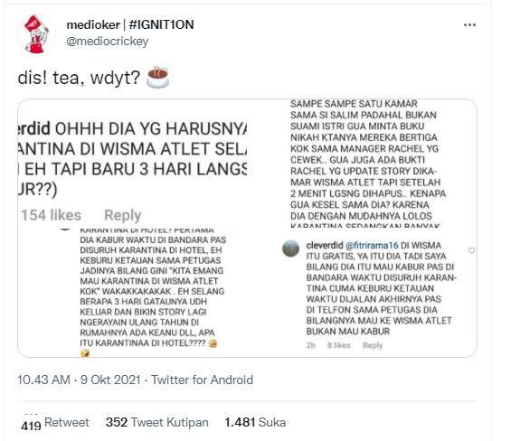 Pengakuan netizen yang menuding Rachel Vennya kabur saat karantina di Wisma Atlet