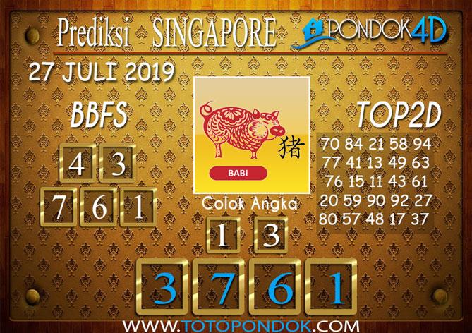 Prediksi Togel SINGAPORE PONDOK4D 27 JULI 2019