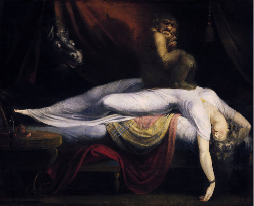 An image of 'The Nightmare' by Henry Fuseli. It depicts a gremlin-like creature sitting on the chest of a sleeping woman.