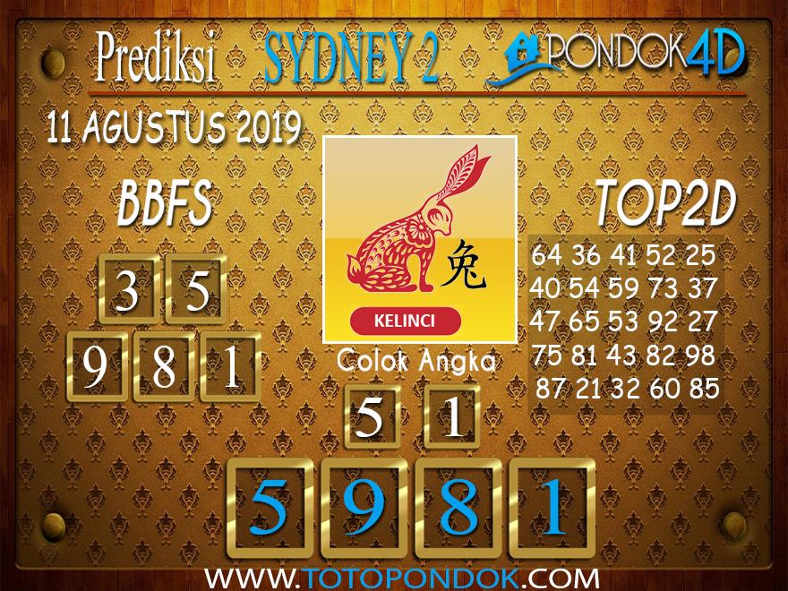 Prediksi Togel SYDNEY 2 PONDOK4D 11 AGUSTUS 2019