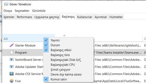 Windows 10 başlangıçta Program adındaki bilinmeyen program