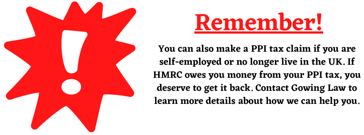 PPI Tax Claim and self employment
