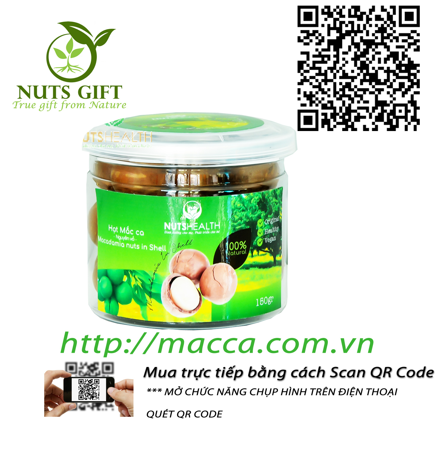 HẠT MACCA ÚC – NUTSHEALTH – 150 GR