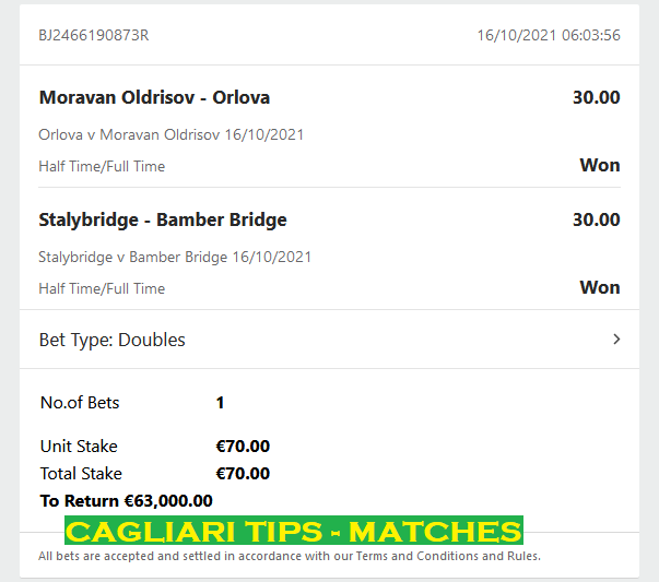 BEST DOUBLE HALFTIME / FULLTIME FIXED MATCHES IN THE WORLD. Cagliari-tips.com