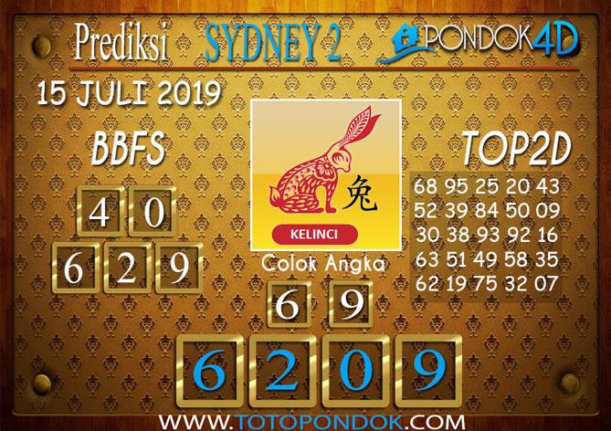 Prediksi Togel SYDNEY 2 PONDOK4D 15 JULI 2019
