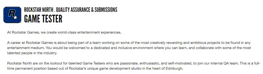 Rockstar GTA VI puesto trabajo