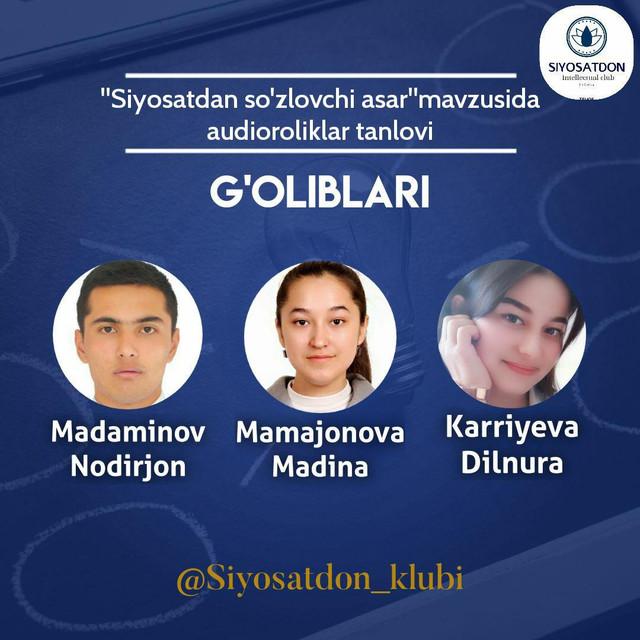 """Filial talabasi Karriyeva Dilnura """"Siyosatdan so'zlovchi asar""""  audioroliklar tanlovi g'oliblikini qo'lga kiritdi"""