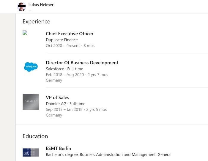 Fake Profile of Duplicate Finance CEO