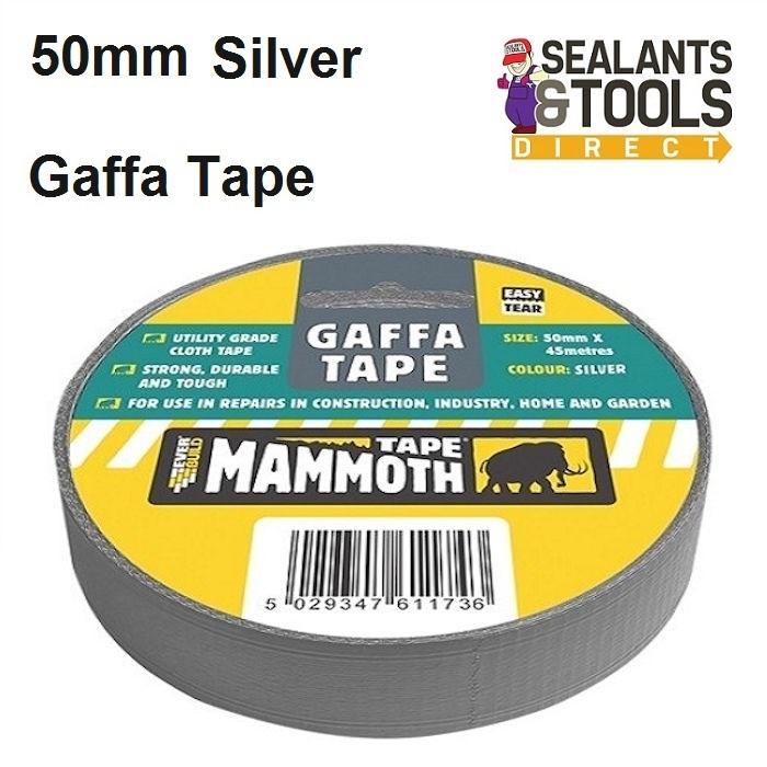 Everbuild Mammoth Gaffa Tape Silver 50mm 2VGAFFSV45