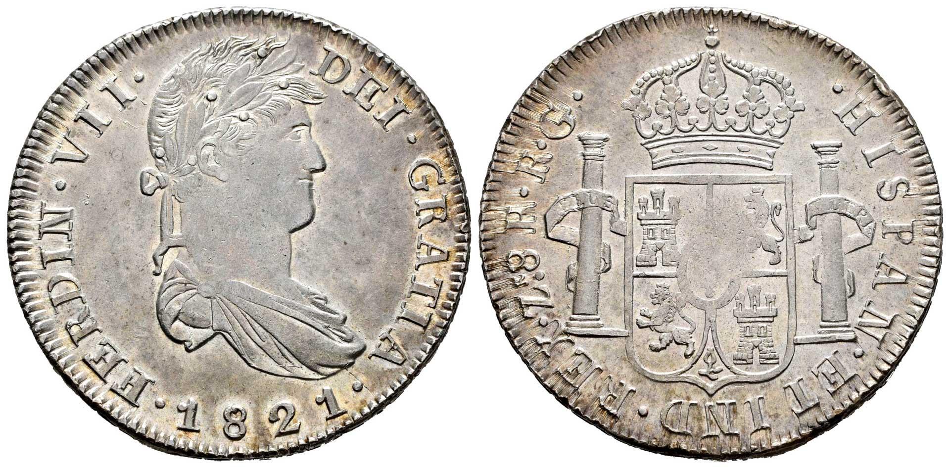 8 Reales Fernando VII 1821 Zacatecas Ferdinand-vii-1808-1833-8-reales-6553451-O
