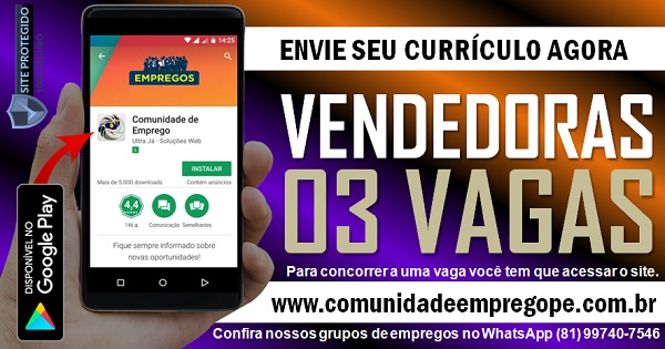 VENDEDORA, 03 VAGAS PARA QUIOSQUES NOS SHOPPINGS GUARARAPES E PLAZA