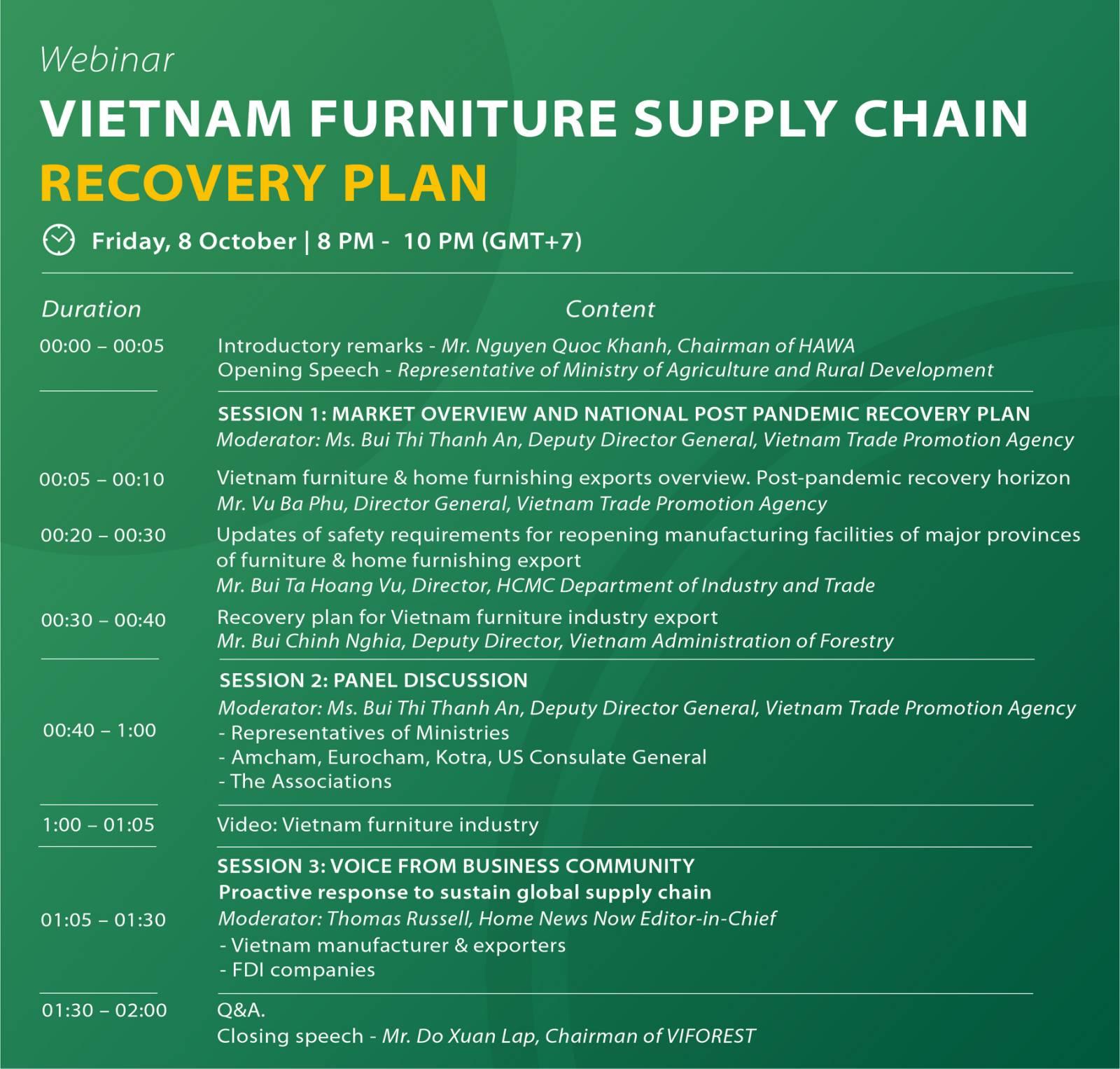 Vietnam furniture supply chain recovery plan_Agenda