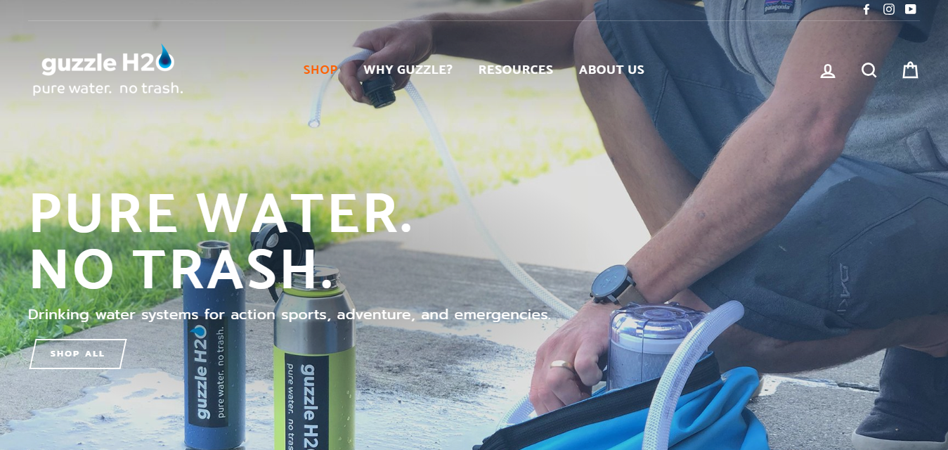 The Guzzle H2O travel product recommended by Tyler Bech on Pretty Progressive.