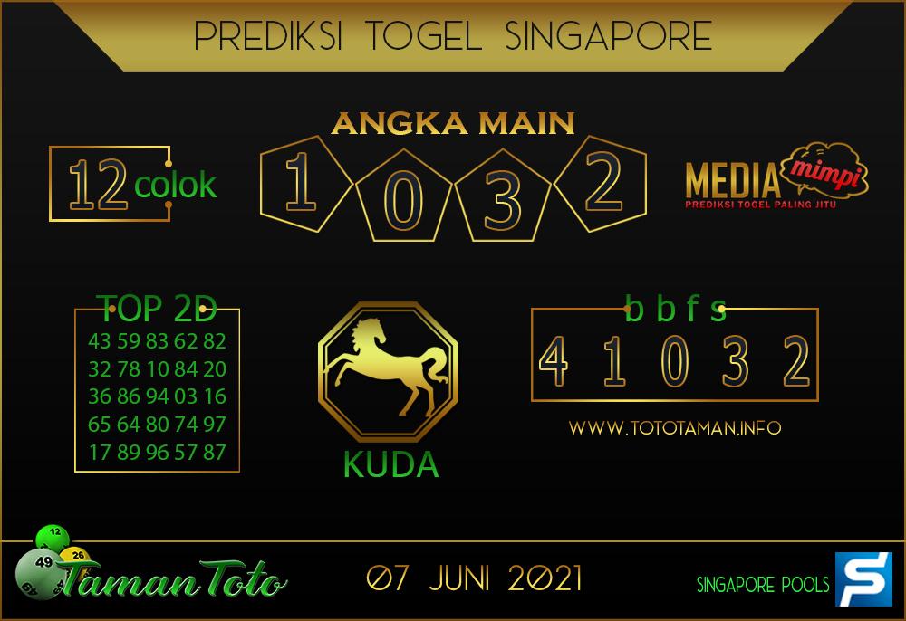 Prediksi Togel SINGAPORE TAMAN TOTO 07 JUNI 2021