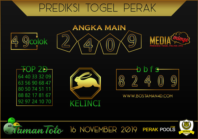 Prediksi Togel PERAK TAMAN TOTO 16 NOVEMBER 2019