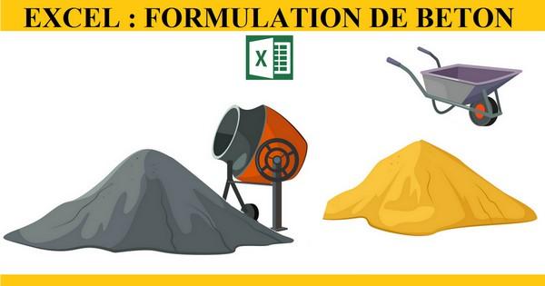 Feuille de calcul de formulation et composition du Béton