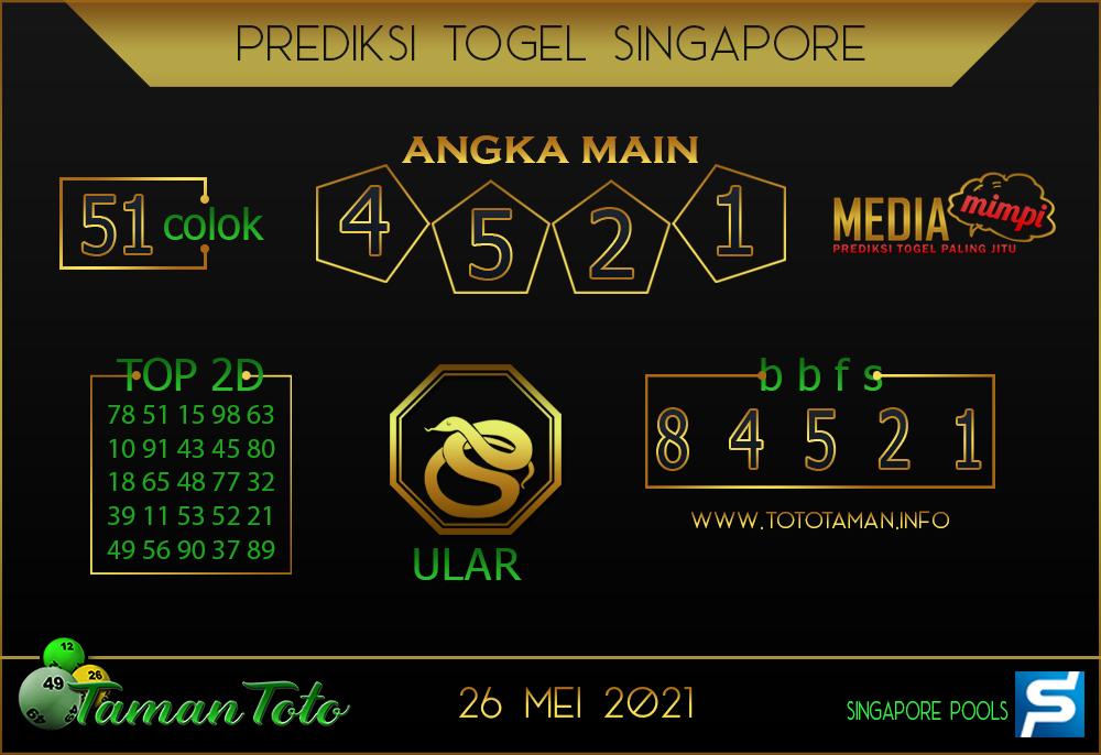 Prediksi Togel SINGAPORE TAMAN TOTO 26 MEI 2021