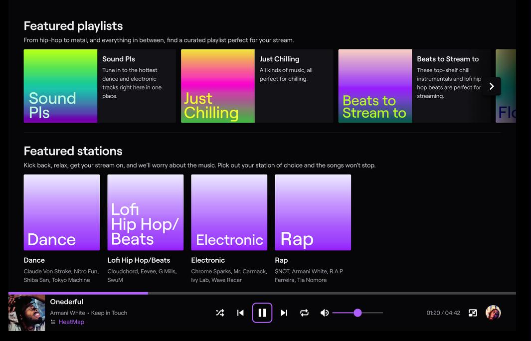 Vista de Soundtrack by Twitch. Fuente Twitch