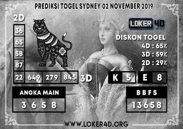 PREDIKSI TOGEL SYDNEY LOKER4D 02 NOVEMBER 2019