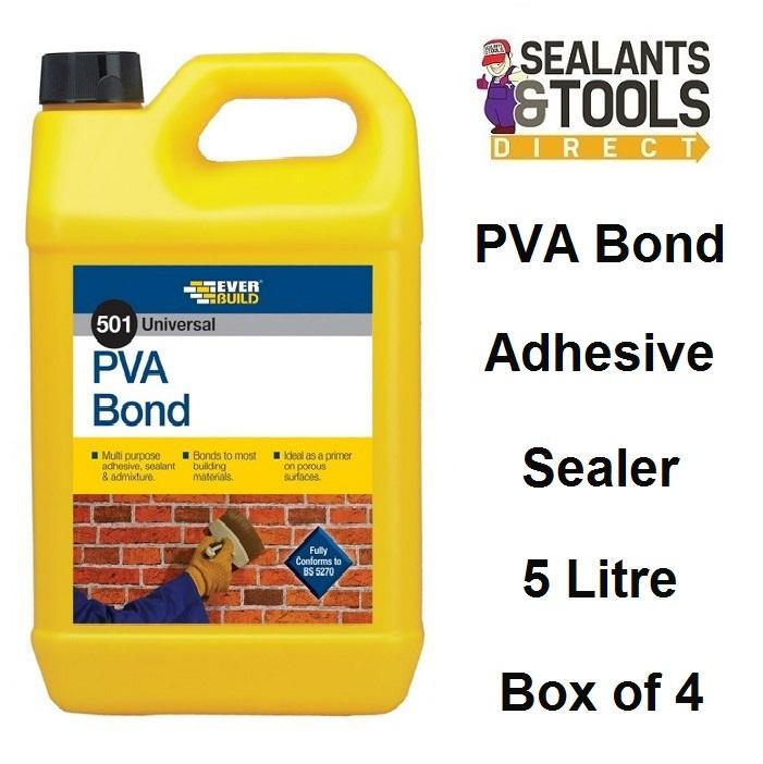 Everbuild 501 PVA Bond Sealer Adhesive Additive 5 litre Box of 4