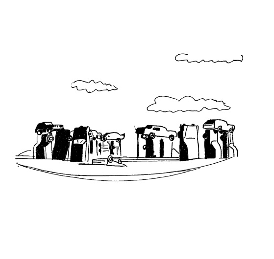 A line drawing in black ink: beneath clouds, cars are stacked in a circle, forming the shape of Stonehenge