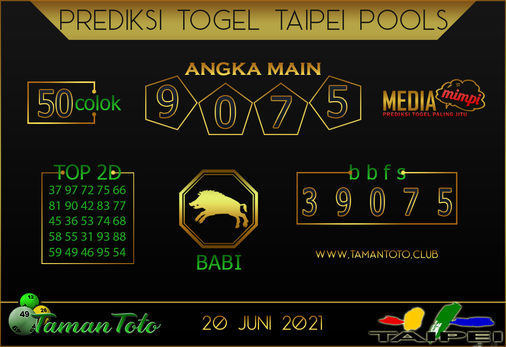 Prediksi Togel TAIPEI TAMAN TOTO 20 JUNI 2021