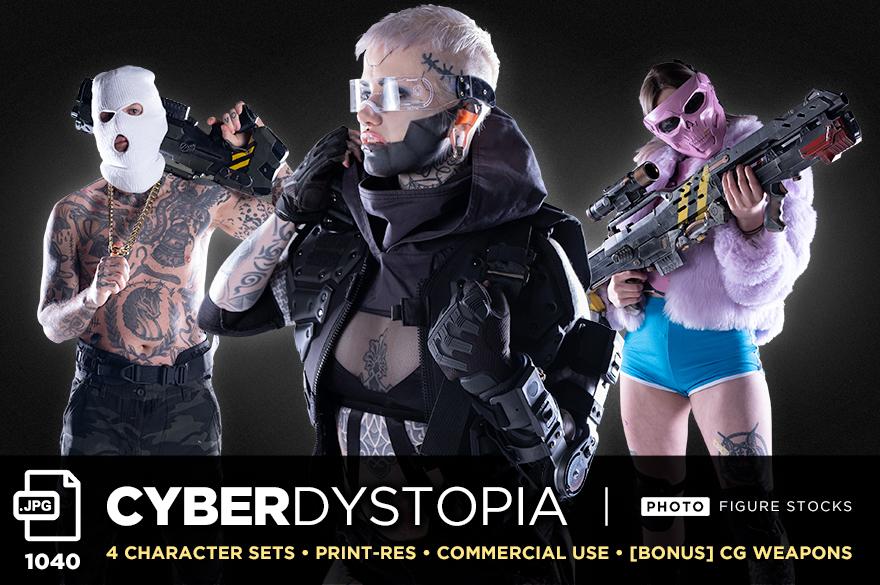 cyber dystopia figure stock bundle 1